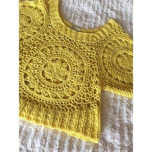 ARDEN B Yellow Crochet Top